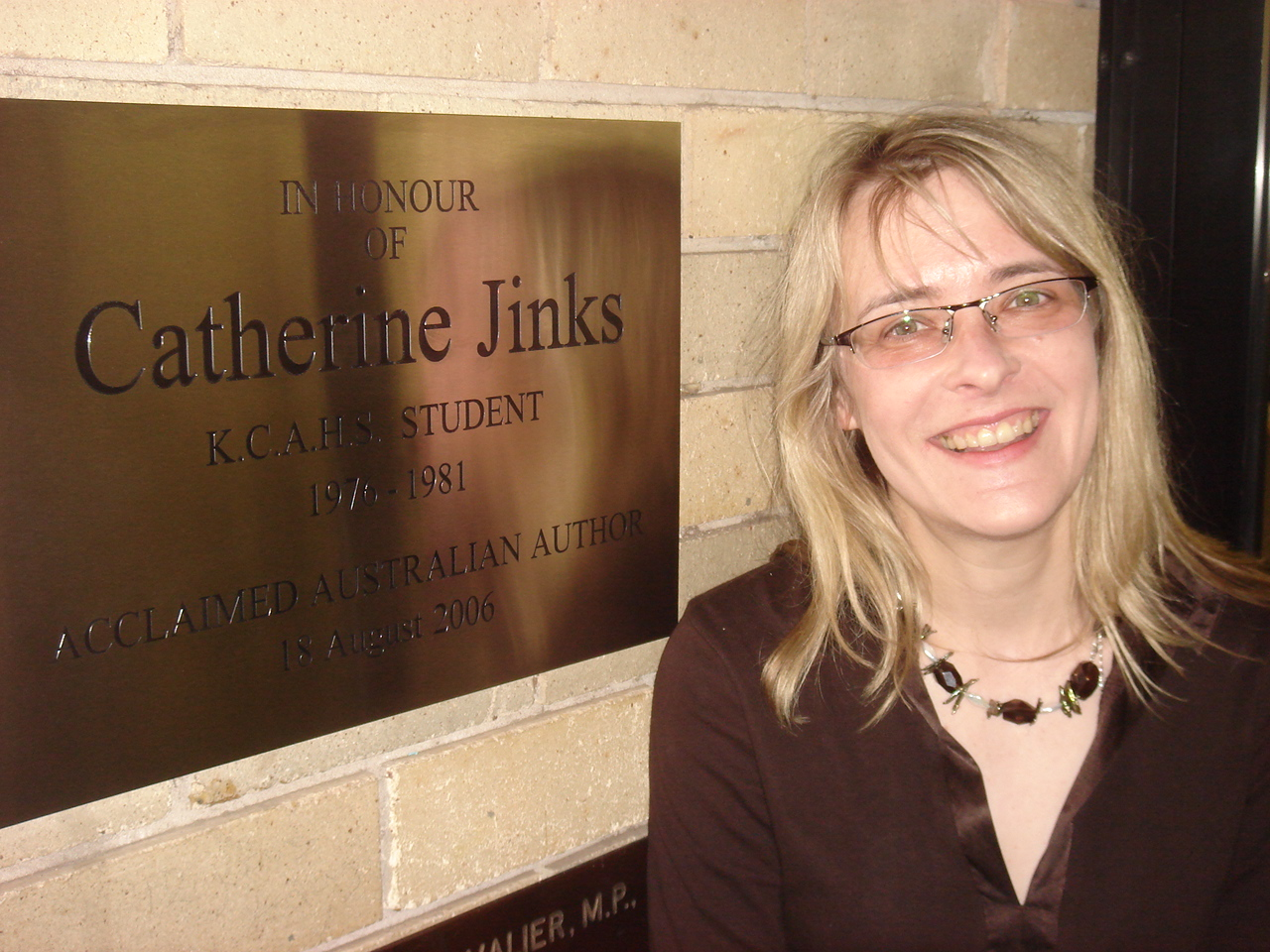 At the opening of the Catherine Jinks Library at my old high school, the Ku-ring-gai Creative Arts High School, in 2006. Photo by Peter Dockrill